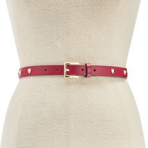 Michael Kors Heart Studded Leather Skinny Belt